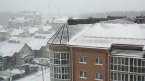 Multi-storey residential house. It snowed. Winter stock video
