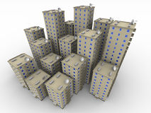 Multi-storey residential houses. Multi-storey residential buildings on a white surface. The three-dimensional illustration Stock Photo