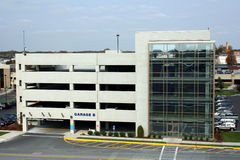Multi-story car park. Exterior view of multi-story car parking garage stock images