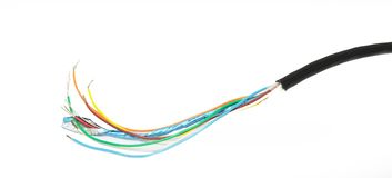 Multi-strand cable. Stripped shielded wire and cable Royalty Free Stock Photography