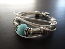Multi-strap bracelet in white and blue Stock Photos
