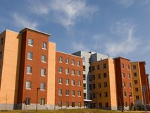 Multi-Surface Building. Multi-surfaced school dormitory building Royalty Free Stock Photos