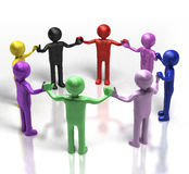 Multi-talented team. 3D multi-coloured people holding hands in a circle Stock Photography