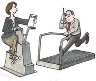 Multi-task. Businesspeople multi-tasking while they exercise vector illustration