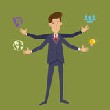Multi Tasking Businessman With Four Arms Stock Image