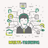 Multi-Tasking Businessman with Infographic elements. Stock Photography