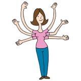 Multi Tasking Woman Cartoon Stock Photo
