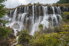 Multi-tiered big waterfall at Jiuzhaigou Valley National Park Royalty Free Stock Image