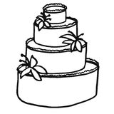 A multi-tiered festive cake decorated with cream and lilies. Col Stock Photos