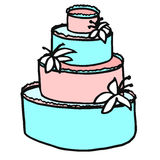 A multi-tiered festive white cake decorated with cream and lilie Royalty Free Stock Images