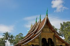 Multi-tiered Roof of Golden City Monastery in Luang Prabang Stock Images