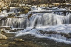 Stony Clove Falls Closeup. A multi-tiered waterfalls on Stony Clove Creek in Greene Country in the Catskill Mountains in Edgewood, New York Royalty Free Stock Images