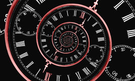 Multi time spiral. Looks like reversed infinity time spiral, digital generated image with red clock arrow and 12 number Royalty Free Stock Images