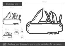 Multi tool line icon. Royalty Free Stock Photos