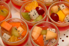 Multi  on top fruit jelly strawberries Royalty Free Stock Photos