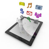 Multi-Touch Application. To launch the application. People working with fingers. Enjoy the software on the Tablet PC. (Music / Movies / E-mail / social network Royalty Free Stock Image