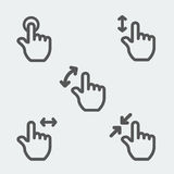 Multi touch gestures icon thin line web sign Stock Photos