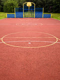 Multi Use Sports Activity Games Area. Multi use games area (MUGA) and sports ground on a school site, with lines and circles marked for a variety of physical Royalty Free Stock Photography