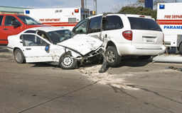 Multi-vehicle Collision. The aftermath of a two car collision royalty free stock photos