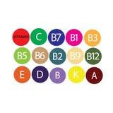 Vitamins. Multi Vitamin complex icons. Multivitamin supplement, Vitamin A, B group B1, B2, B3, B5, B6,B7, B9, B12, C, D, E, K  Science vector illustration,vector stock illustration