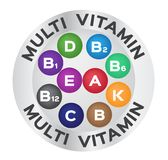 Multi vitamin for good health .color  , logo and icon. On white background Stock Photo