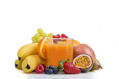Multi vitamine among various fruit Royalty Free Stock Photography