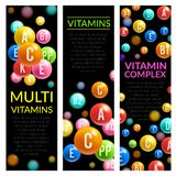 Multi vitamin complex pills vector banners. Multi vitamins complex banners of vitamin pills of A, B and ascorbic acid C, D and PP or multivitamin D. Vector Royalty Free Stock Photography