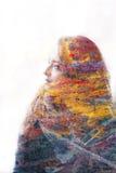 Multiblootstellingsportret van vrouw royalty-vrije stock afbeeldingen