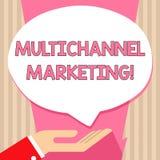 Multichannel marknadsf?ring f?r handskrifttext Begreppsbetydelsen som p?verkar varandra med kunder via ?tskilliga kanaler, g?mma  vektor illustrationer