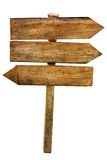Multichoice Crossroad Wooden Arrows Signs Isolated Stock Photography