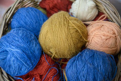 Multicilored wool clews Royalty Free Stock Photo
