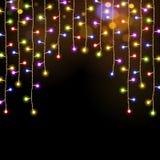 Multicolor гирлянда светов рождества бесплатная иллюстрация