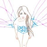 Multicolor иллюстрация с молодой женщиной Стоковое Фото
