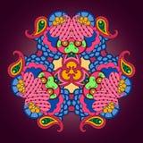 Multicolor мандала на темной фиолетовой предпосылке Стоковые Фото