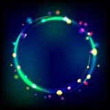Multicolor накаляя рамка круга с sparkles. Стоковая Фотография