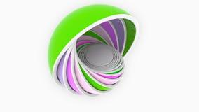 Multicolor полусферы или шары приспосабливать один другого дизайн 3D, различный размер или пластмассы связали loopable анимация иллюстрация вектора