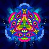 Multicolor психоделическая мандала в голубой предпосылке с лучами Стоковая Фотография RF