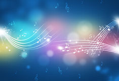 Абстрактная музыка замечает Multicolor предпосылку Стоковое Изображение RF