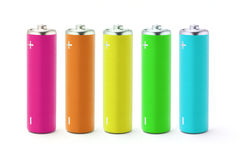 Multicolor AA size batteries Royalty Free Stock Photo