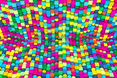 Multicolor abstract background with cube on the sphere. 3d illustration vector illustration