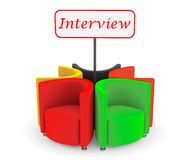 Multicolor Abstract Chairs with Interview banner Royalty Free Stock Photo