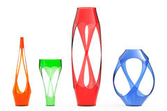 Multicolor Abstract Glass Vases. 3d Rendering. Multicolor Abstract Glass Vases on a white background. 3d Rendering Stock Image