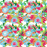 Multicolor abstract pattern with flowers Stock Photos