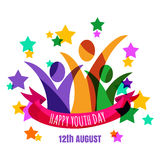 Multicolor abstract young happy people with ribbon and stars bac royalty free illustration
