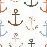 Multicolor anchors on white background vector seamless pattern stock illustration