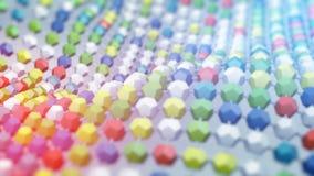 Multicolor atom grid structure 3D render. Multicolor atom grid structure. Abstract science fiction 3D render concept stock illustration
