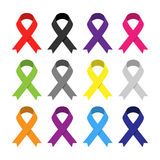 Multicolor awareness ribbon. Royalty Free Stock Photography