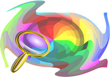 Multicolor background and magnifier Royalty Free Stock Photos
