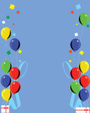 Multicolor balloon celebration. Multicolor balloons on a blue background with illustration along the left and right side Royalty Free Stock Photo