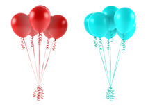 Multicolor balloons isolated. Red and blue Stock Photo